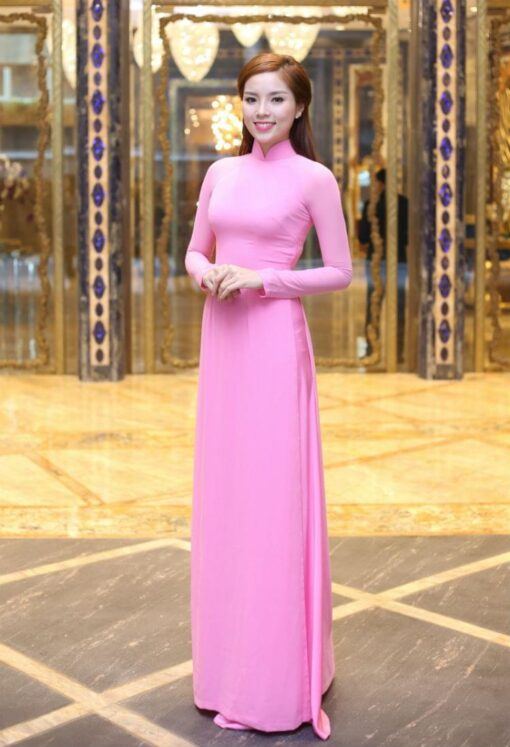 brilliant pink silk and satin ao dai vietnam