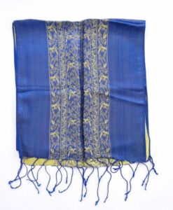 Double Layer Women Scarf Natural Silkworm Blue
