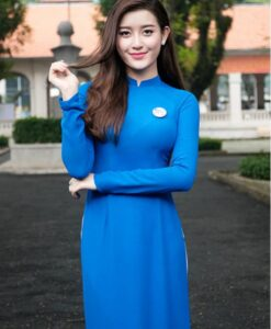 blue white ao dai vietnam chiffon and satin 3