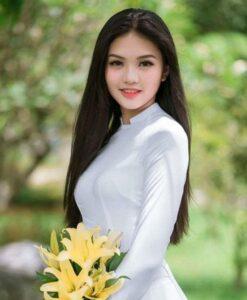 Vietnam traditional tunic white silk Ao Dai