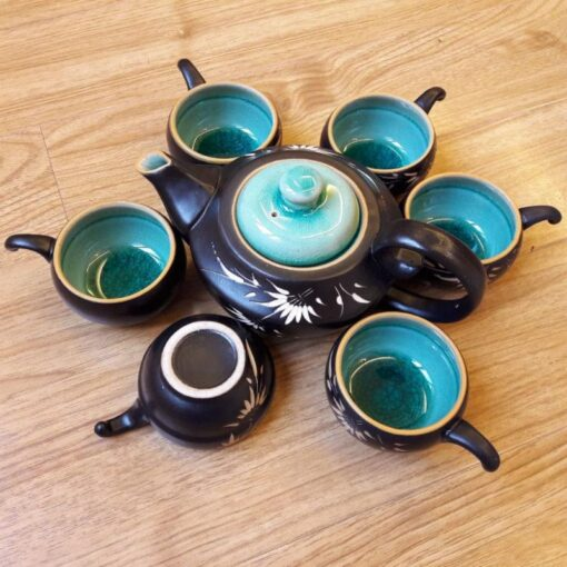 Handmade Tea Set Bat Trang Green