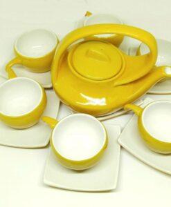 Bat Trang Handmade Tea Set Yellow White Plain Glaze 2