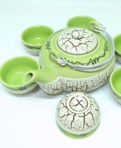Bat Trang Round Tea Set Pottery Green 2