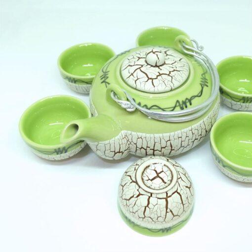 Bat Trang Round Tea Set Pottery Green 2