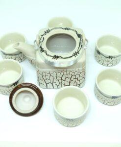 Handmade Bat Trang Pottery Tea Set Crack Glaze 2
