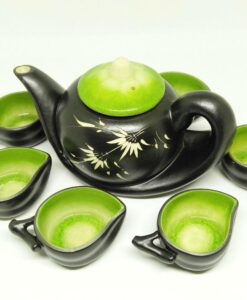 Vietnam Handmade Tea Set Bat Trang Leaf Green Glaze 2