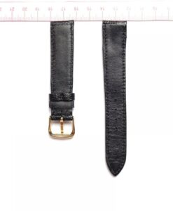 Black Ostrich Leather Wristwatch Strap Size 18mm 2