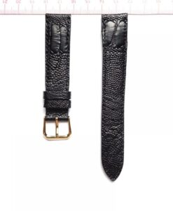 Black Ostrich Leather Wristwatch Strap Size 18mm