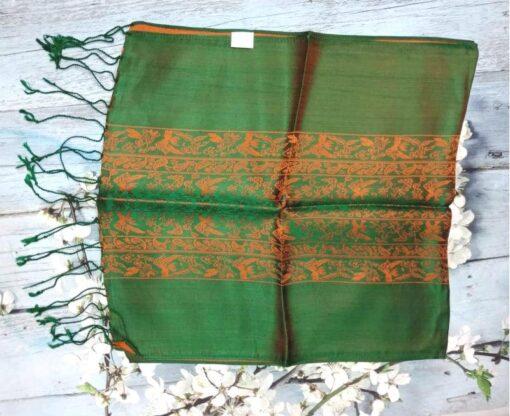 Dark Green Vietnam Natural Silkworm Women Scarf 3