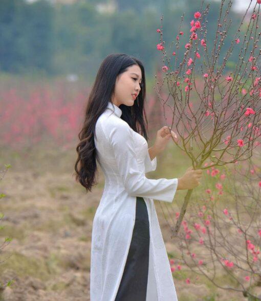 Vietnam Ao Dai Silk Black White 3