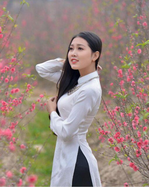 Vietnam Ao Dai Thai Tuan White Brocade