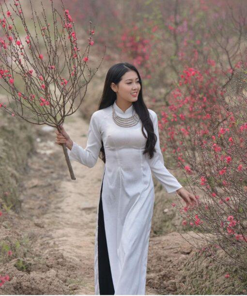 Vietnam Ao Dai Silk Black White