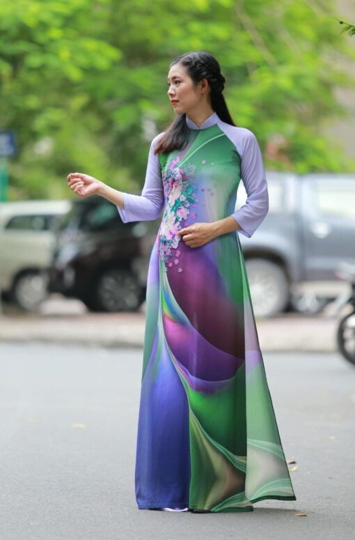 Mixed Color Printed Ao Dai Vietnam 1