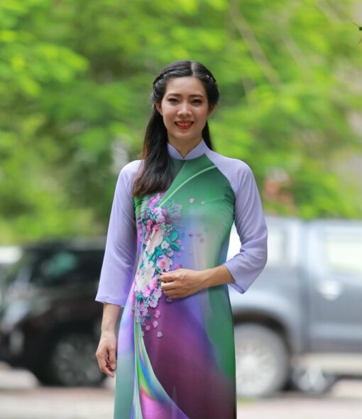 Mixed Color Printed Ao Dai Vietnam