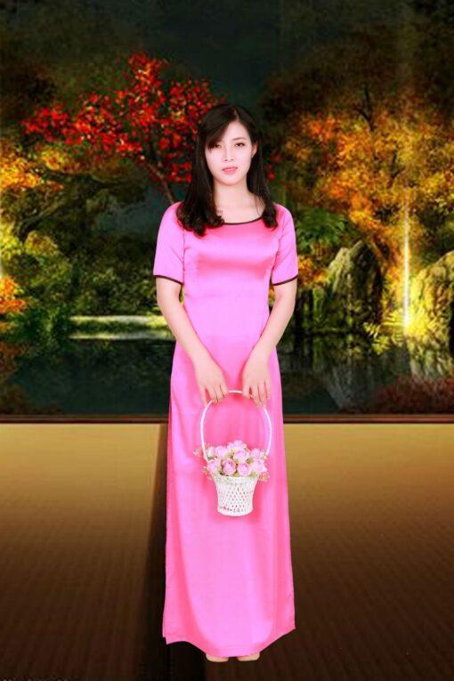 Pink Silk Ao Dai Vietnam Costume 2